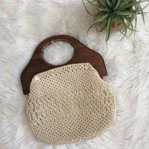 Vintage Crochet Clutch Boho Hippie Wood Handles